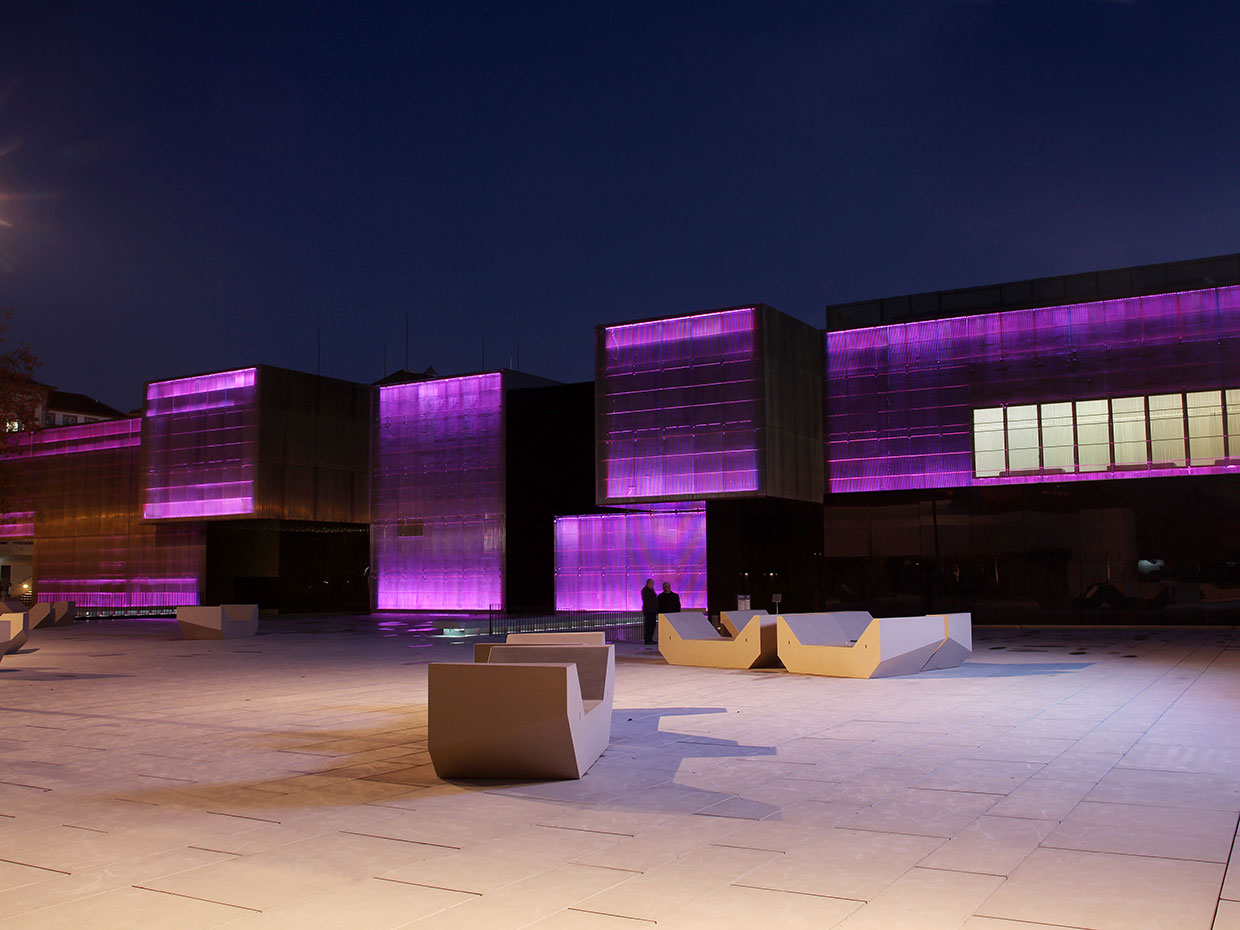 A dynamic lighting scheme gives Platforma das Artes a fun nocturnal image
